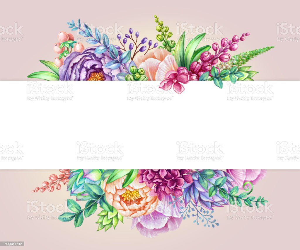 Watercolor Illustration Floral Background Wild Flowers Bouquet ...