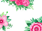Watercolor illustration floral banner background for your text and design. Pink blooming flowers and greenery on a white background