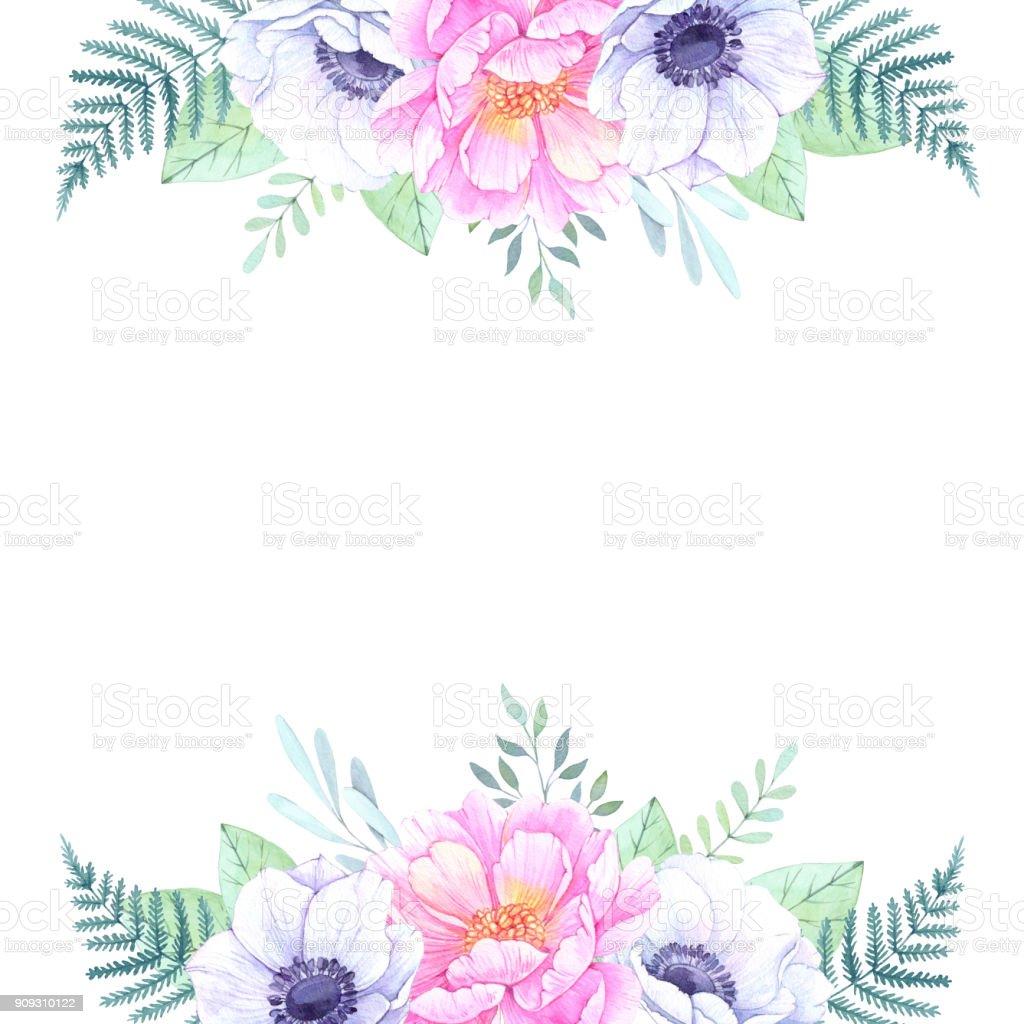 Sulu Boya Resim Peonies Ve Anemon Ile çerçeve çiçek Davet Düğün