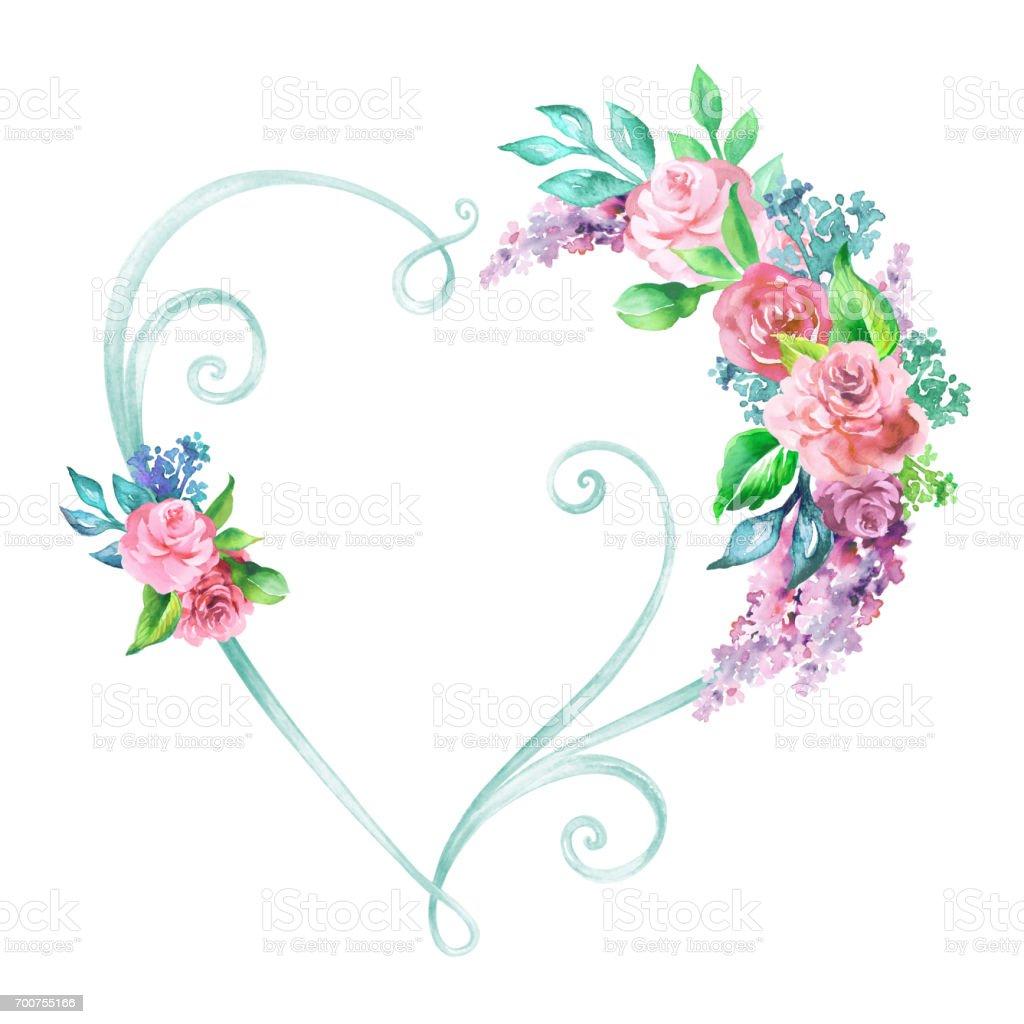Aquarell Bild Florale Herz Rahmen Dekorative Form Hochzeit Blume ...