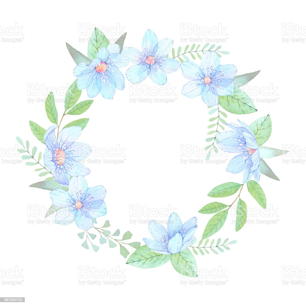 Watercolor illustration floral wreath with leaves and blue flowers floral wreath with leaves and blue flowers perfect for wedding invitation or izmirmasajfo Gallery
