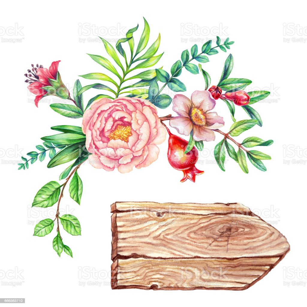 Watercolor Illustration Flower Bouquet Floral Background Wooden Texture Rustic Banner Round