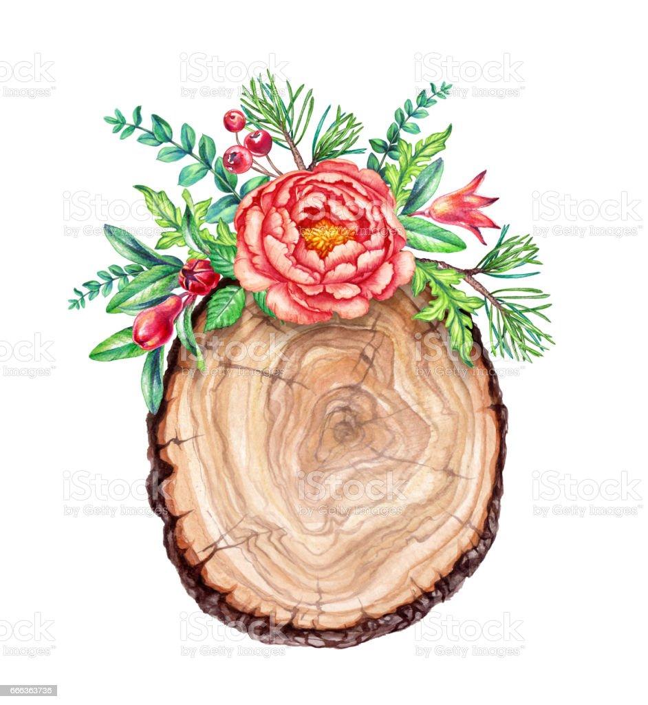 Watercolor Illustration Flower Bouquet Floral Background Wooden