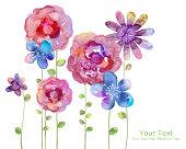 水彩画の花柄でシンプルな背景のイラスト