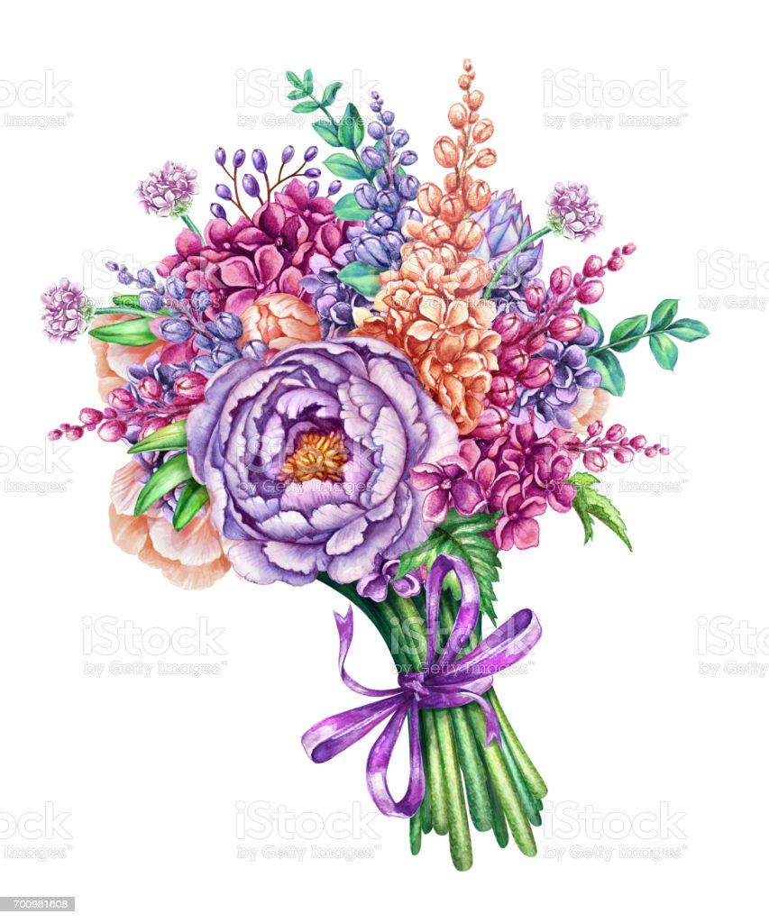 Watercolor Illustration Gorgeous Wedding Bouquet Wild ...