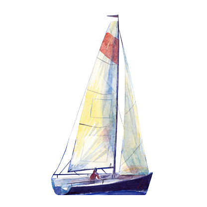Watercolor illustration, hand drawn sailboat. Art cut out deep blue yacht sails, watercolor isolated objet on white background.