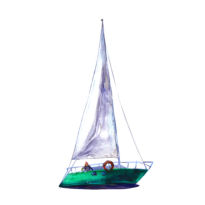 Watercolor illustration, hand drawn sailboat. Art cut out emerald yacht sails, watercolor isolated objet on white background.