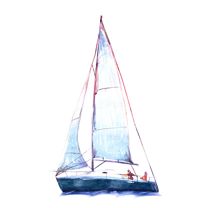 Watercolor illustration, hand drawn sailboat. Art cut out yacht sails, watercolor isolated objet on white background.