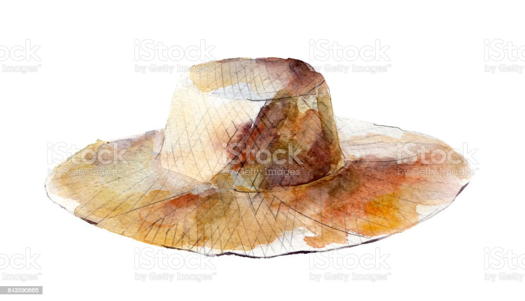 Watercolor illustration, hand drawn straw hat isolated object on white background. vector art illustration