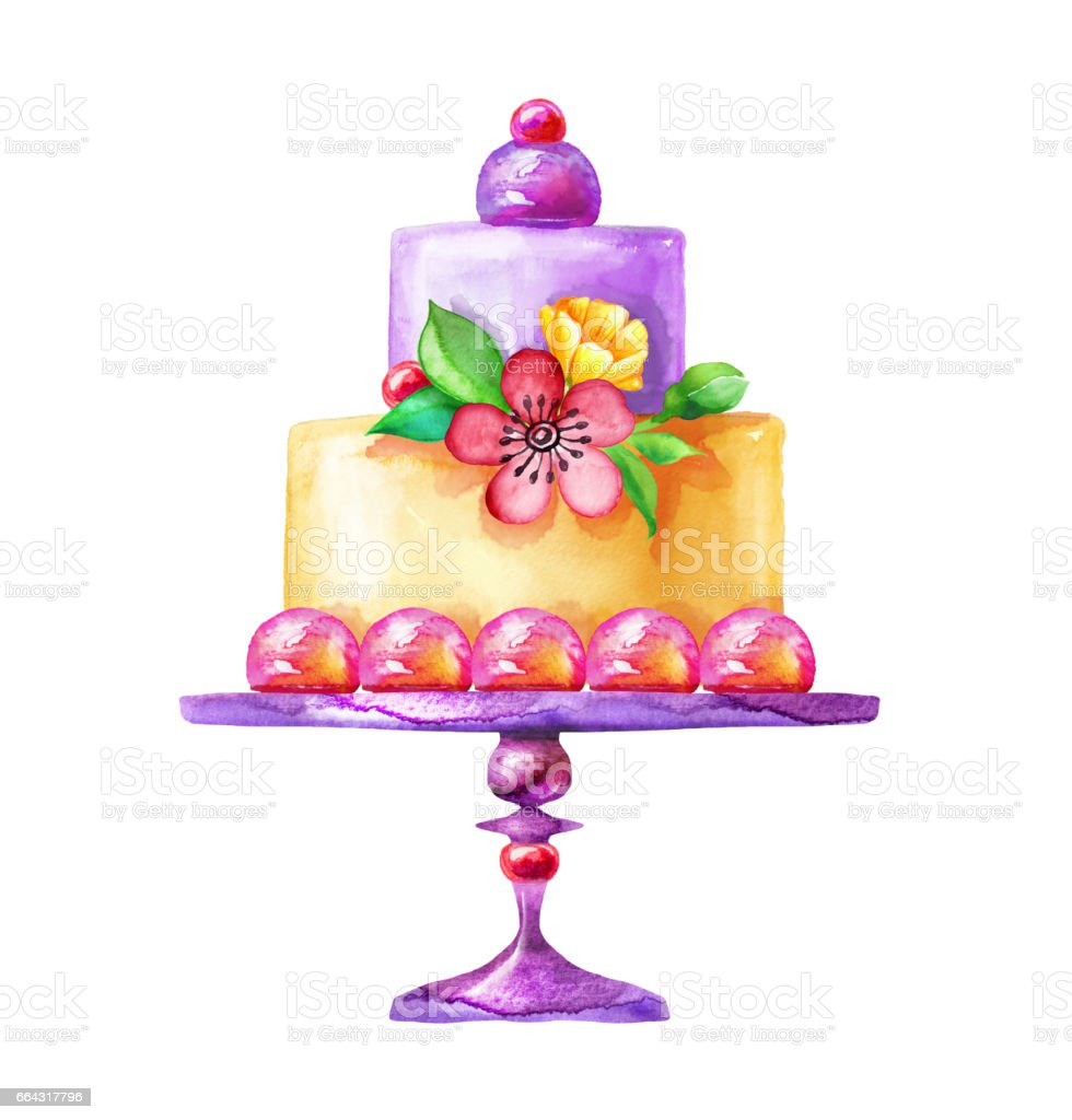 watercolor illustration, holiday cake isolated on white background, flowers, birthday, party, wedding, anniversary greeting card design, yellow and purple vector art illustration