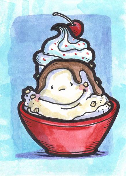 Watercolor Illustration Ice Cream Sundae vector art illustration