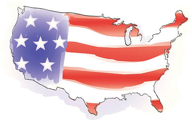 USA watercolor vector art illustration