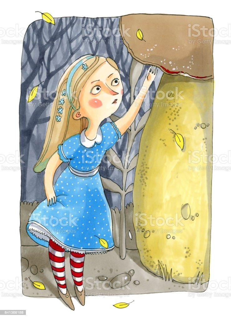 Ilustración acuarela aislado sobre fondo blanco. Cuento sobre Alicia en el país de las maravillas. La chica de vestido azul se encuentra cerca del gran hongo - ilustración de arte vectorial