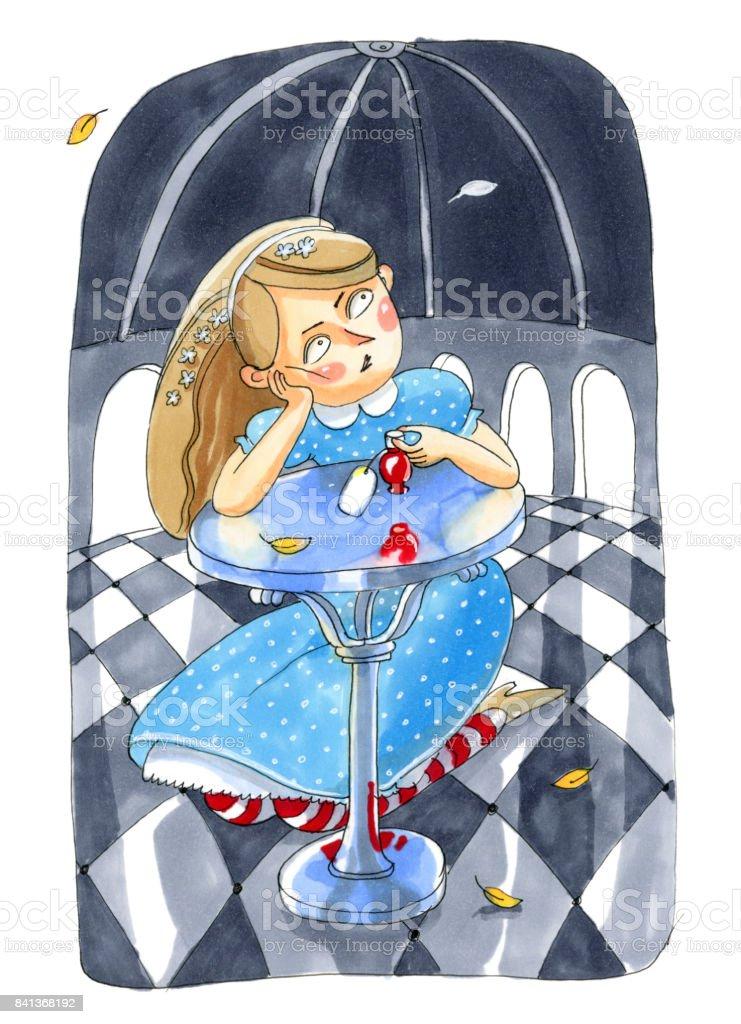 Ilustración acuarela aislado sobre fondo blanco. Cuento sobre Alicia en el país de las maravillas. La chica de vestido azul se encuentra cerca de la mesa de cristal. - ilustración de arte vectorial