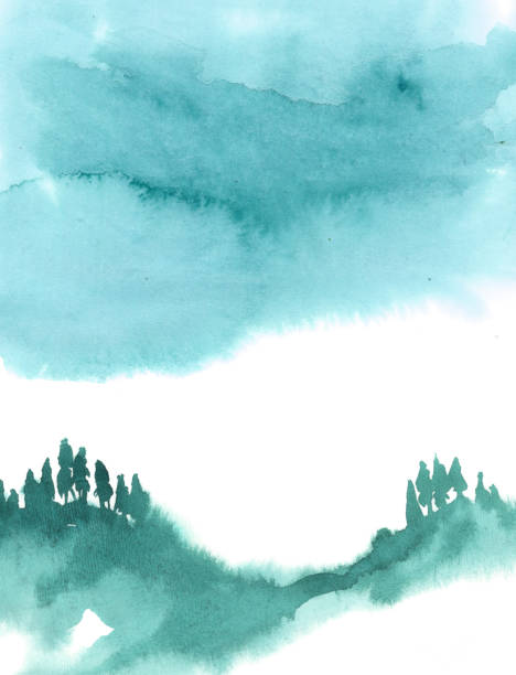 Watercolor illustration isolated on white background. Painting on wet. Blue forest in fog. Watercolor illustration isolated on white background. Painting on wet. Blue forest in fog. mountains in mist stock illustrations
