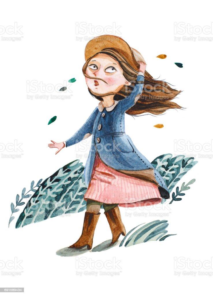 Akvarell illustration isolerade på vit bakgrund. Flickan i kappa och hatt  gå en promenad. f11175ea6545c
