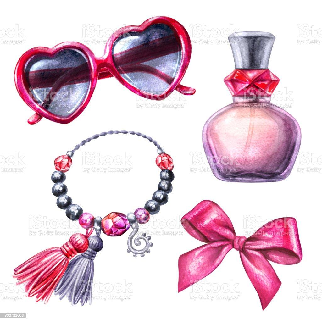ddb3443a92 Acuarela Ilustración, Imágenes Prediseñadas, cosméticos, conjunto de  elementos de diseño, moda,