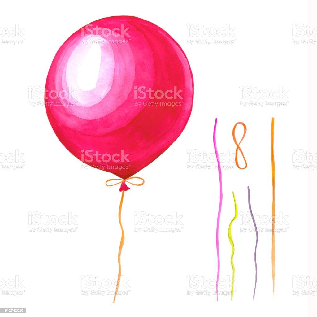 Bir Balon Suluboya çizimi Stok Vektör Sanatı Akrilik Boyamanin
