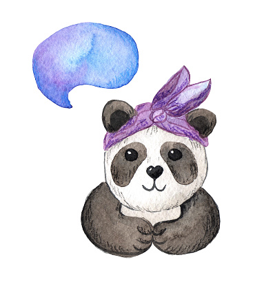 watercolor illustration of a cute panda girl with a headband.