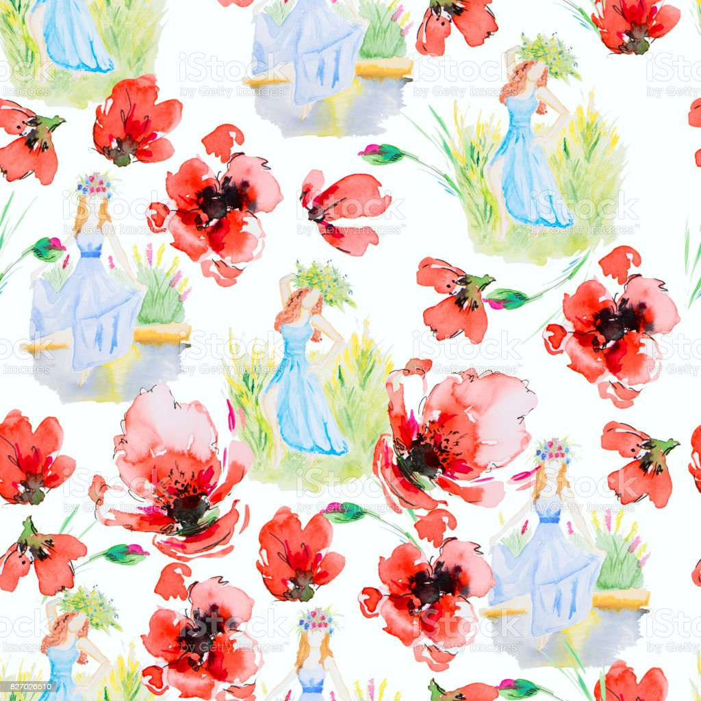 花の水彩画のイラストと女の子 まぶしいのベクターアート素材や画像を