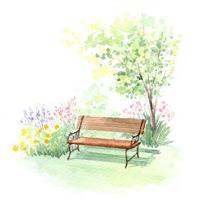 Watercolor illustration of a garden bench.