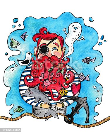 istock watercolor illustration of a pirate Smoking a pipe 1266406345