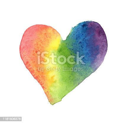 Watercolor illustration of a rainbow color heart blurred by water. valentine's day card, lgbt, flag. for design, cards, print, banners, blogs, etc.