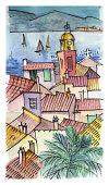 Watercolor illustration of a Saint-Tropez view