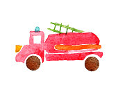 Watercolor illustration of a simple fire truck on a white background isolated. Children's style.