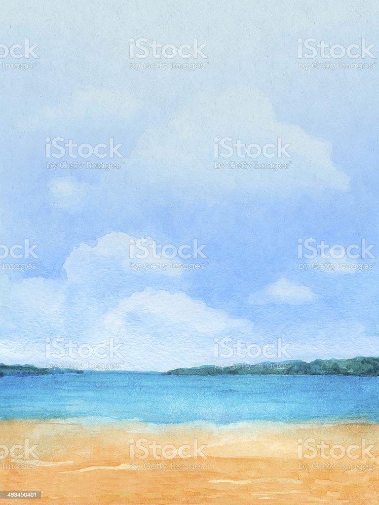 Watercolor Ilustração de uma praia tropical - ilustração de arte em vetor