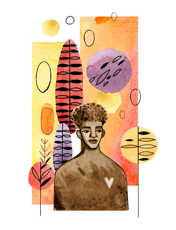 Watercolor illustration of african american man in modern futuristic style. Abstract elements are arranged on a vertical strip and isolated on a white background.