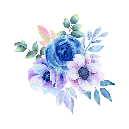 Watercolor illustration of blue flowers on a white background.
