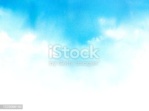 Watercolor illustration of blue sky.