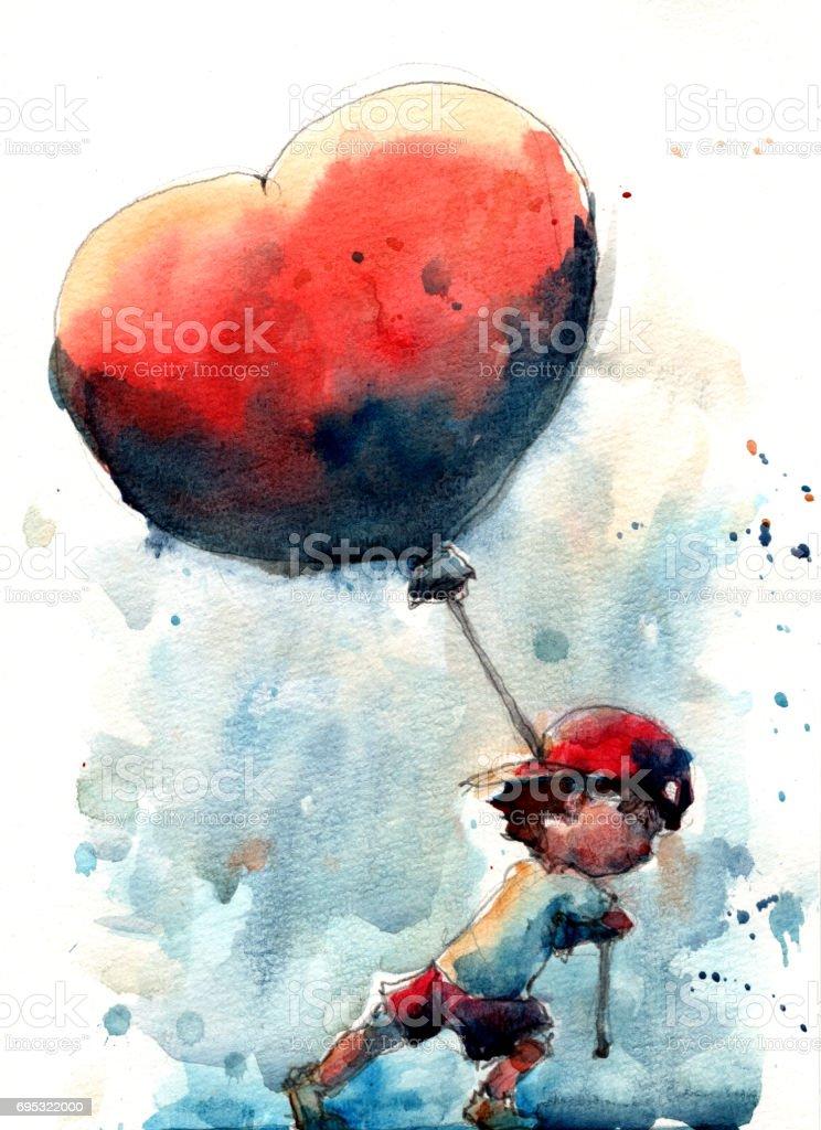 Büyük Kalp şeklinde Balon Tutan çocuk Suluboya çizimi Stok Vektör
