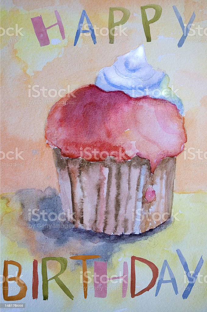 Watercolor illustration of cake royalty-free stock vector art