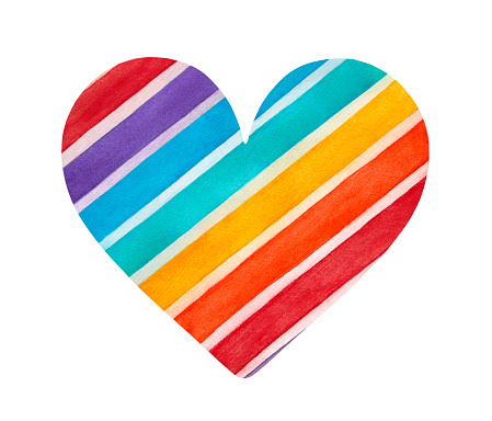 Watercolor illustration of colorful rainbow heart decorated with striped pattern.