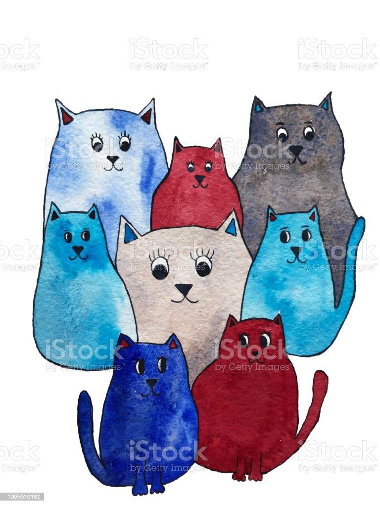 Watercolor illustration of bright cute cats. Cartoon characters.