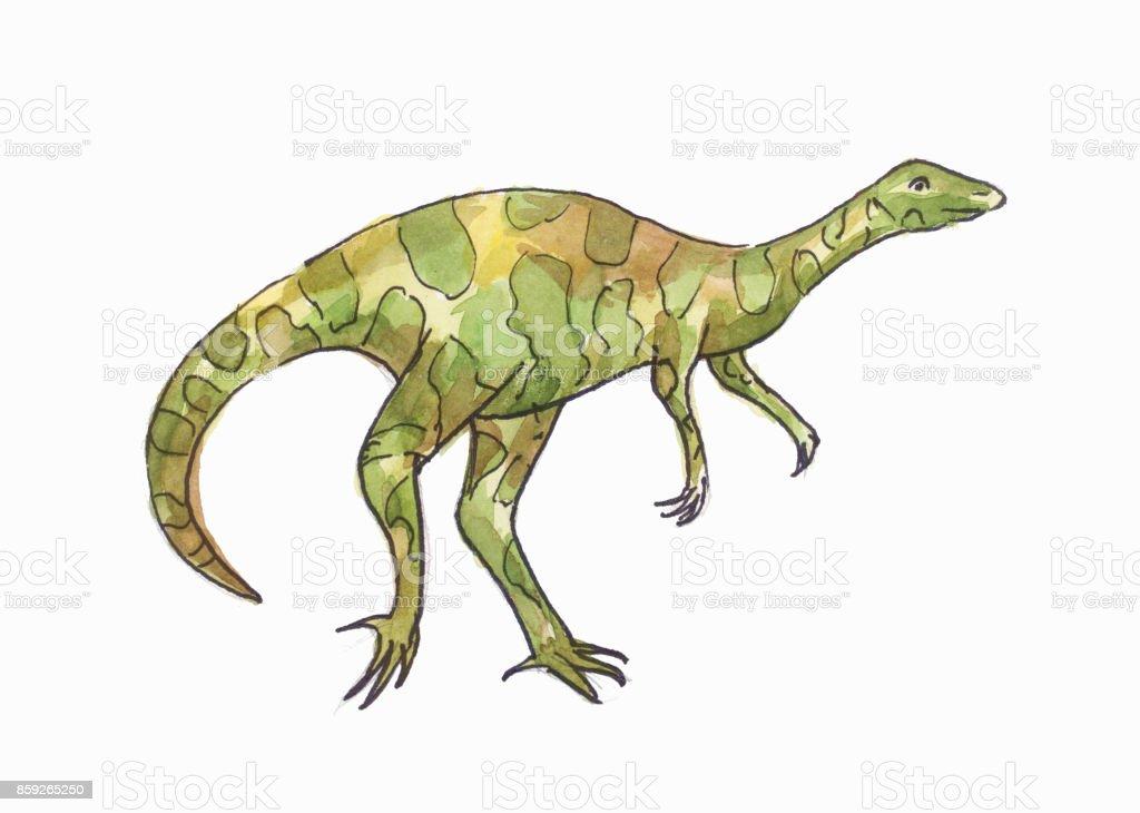 Dinozor Suluboya çizimi Yeşil Allosaurus Stok Vektör Sanatı