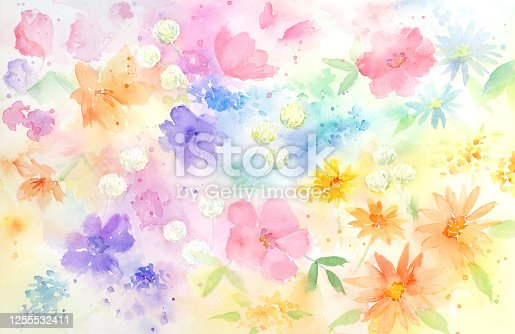 525031854 istock photo Watercolor illustration of fantastic floral pattern. 1255532411