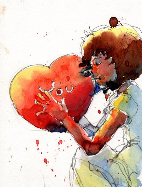 illustrations, cliparts, dessins animés et icônes de illustration aquarelle de fille assise et étreignant un coeur rouge - femme seule s'enlacer