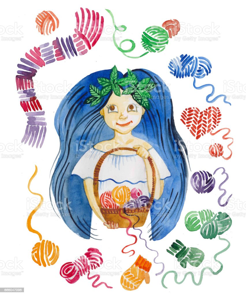 watercolor illustration of girl with basket of yarn, knitting and yarn vector art illustration
