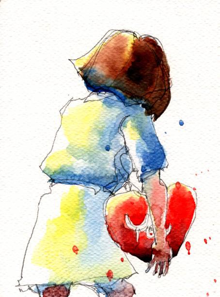 illustrations, cliparts, dessins animés et icônes de illustration aquarelle de fille avec oreiller en forme de coeur - femme seule s'enlacer