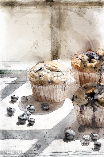istock watercolor illustration of homemade blueberry muffins 1216801788