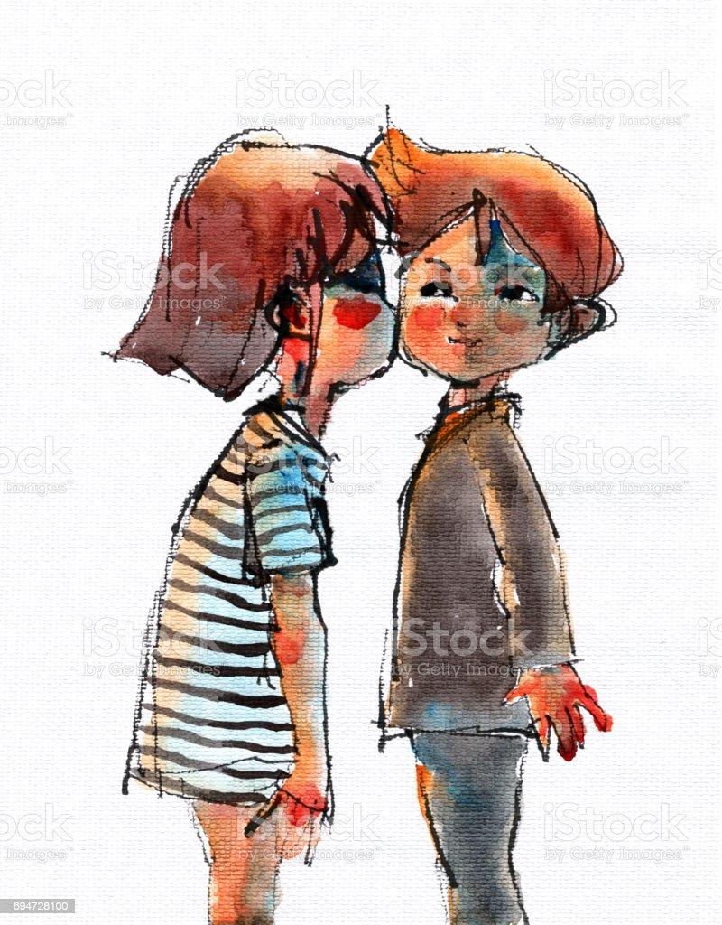 Suluboya çizimi öpmek Kız Ve Erkek Stok Vektör Sanatı 13 19 Yaş