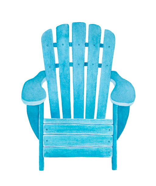 Watercolor illustration of light blue wooden deckchair. Symbol of summer vacation, sunbathing, seaside resort. Hand drawn watercolour graphic painting on white background, cutout element for design. Hand drawn watercolor illustration. muskoka stock illustrations