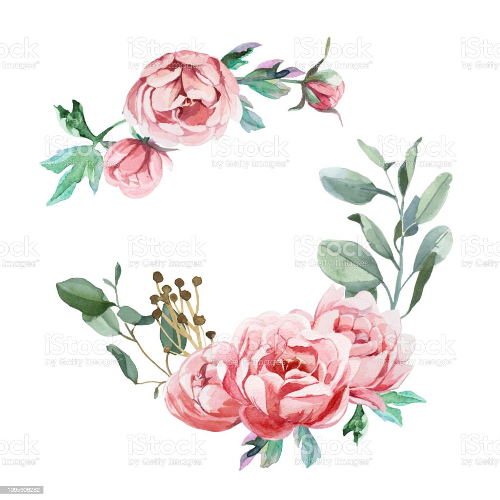Watercolor Illustration Of Light Pink Flowers And Green Leaves Stock Illustration Download Image Now Istock