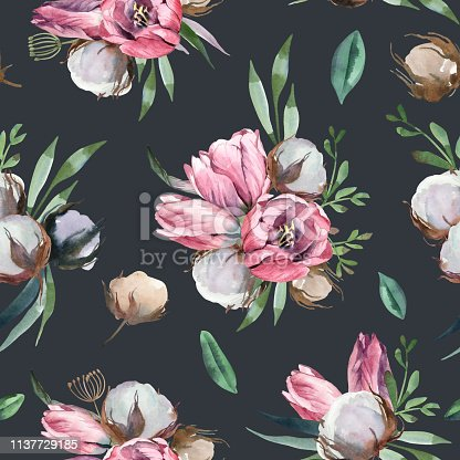 Watercolor illustration of light pink flowers and green leaves. Seamless pattern of tulip and cotton on dark background. Floral element for wedding and invitation cards