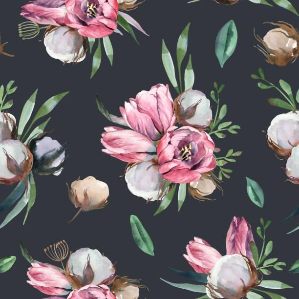 Illustration à l'aquarelle de fleurs rose clair et feuilles vertes. Modèle sans soudure de tulipe et de coton sur fond foncé. Élément floral pour les cartes de mariage et d'invitation - Illustration vectorielle