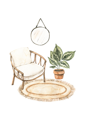 Watercolor illustration of modern interior with cane chair, home plants on pots, mirror and rug. Home decor pre-made composition. Perfect for posters, prints, magazine, cards etc