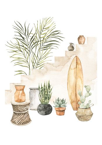 Watercolor illustration of modern interior with stairs, home plants on pots and surf board. Tropical vibe. Cactus, succulent Home decor pre-made composition. Perfect for posters, prints, magazine, cards